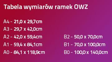 tabela rozmiarów formatów ramek owz
