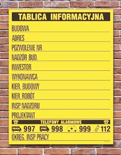 tablica plansza informacyjna budowlana