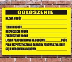 tablice/plansze ogłoszenie o budowie