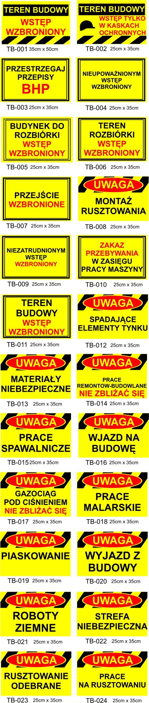 tabliczki ostrzegawcze budowlane Poznań